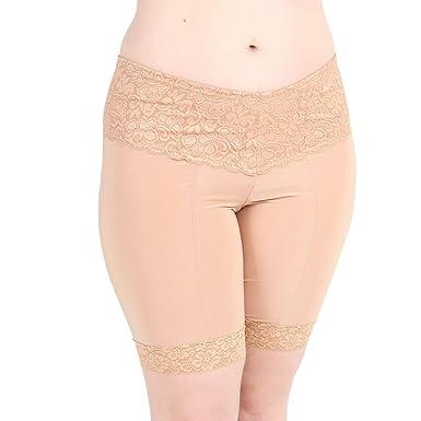 cacc20c8f529 Undersummers Lace Shortlette: Rash Guard Slip Shorts (Small, Beige)