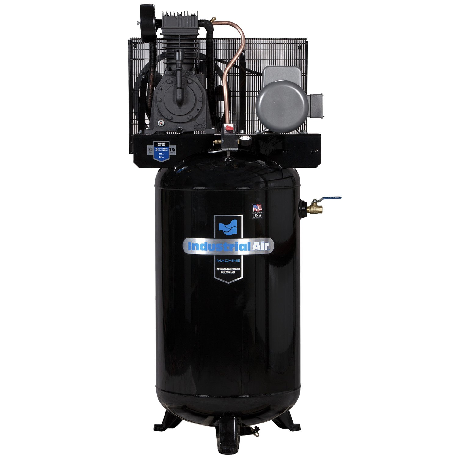 Industrial Air IV5008055 Vertical 80 gallon Two Stage Cast Iron Industrial Air Compressor - Air Compressors - Amazon.com