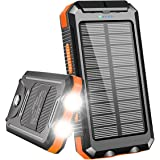 Solar Charger, Benfiss 20000mAh Solar Power Bank, Waterproof Portable External Backup Battery with 2 LED Light,Carabiner and