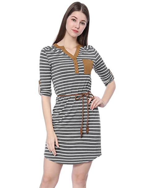 dd395a18b78 Allegra K Women s 3 4 Sleeves Button Upper Above Knee Belted Stripes Dress  M Grey