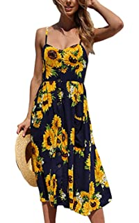 9c280ae43b1d Halife Womens Dresses Summer Floral Spaghetti Strap Sundress Button Down  Swing Midi Dress with Pockets