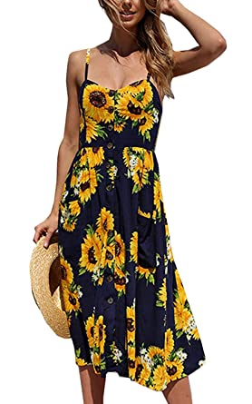 203f92f924 Halife Womens Bohemian Spaghetti Strap Button Down Swing Beach Sunflower  Sundress Navy Blue S