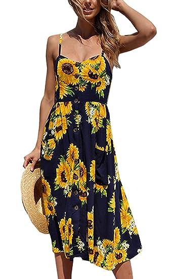 1409f0f946de0 Halife Womens Dresses Summer Floral Spaghetti Strap Sundress Button Down  Swing Midi Dress with Pockets