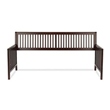 mission wood daybed frame with open slatted back and side panels espresso finish - Wooden Daybed Frame