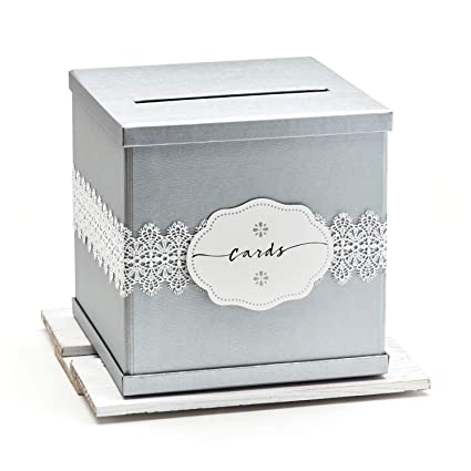 Hayley Cherie Silver Gift Card Box With White Lace And Cards Label Ivory Textured Finish Large Size 10 X 10 Perfect For Weddings Baby