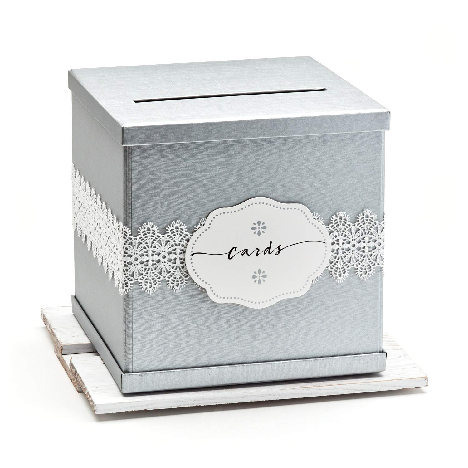 Hayley Cherie - Silver Gift Card Box with White Lace and Cards Label - Ivory Textured Finish - Large Size 10'' x 10'' - Perfect for Weddings, Baby Showers, Birthdays, Graduation