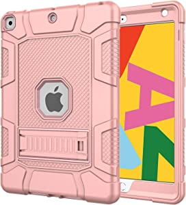 Azzsy iPad 8th Generation Case, iPad 7th Generation Case, iPad 10.2 2020/2019 Case, Slim Heavy Duty Shockproof Rugged High Impact Protective Case for iPad 10.2 inch 2020/2019,Rose Gold