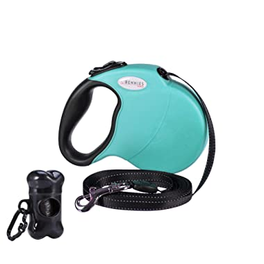 Bennies World Tangle-Free, Heavy-Duty 16 ft Retractable Dog Leash, Strong Reflective Nylon Tape/Ribbon with Anti-Slip Handle, One Button Break & Lock, Waste Dispenser and Bags Included