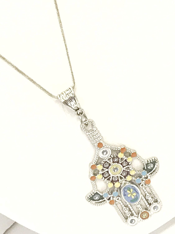 Handmade necklace with Shell and Hand of FatimaGelukshandjeprotectivegift TIP