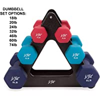 J/Fit 32 lbs Dumbbell Set with Durable Rack