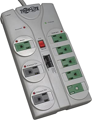 Tripp Lite 8 Outlet (5 Energy Saving) Surge Protector Power Strip, 8ft Cord, Right-Angle Plug, Lifetime Limited Warranty & $150,000 INSURANCE (TLP808NETG)