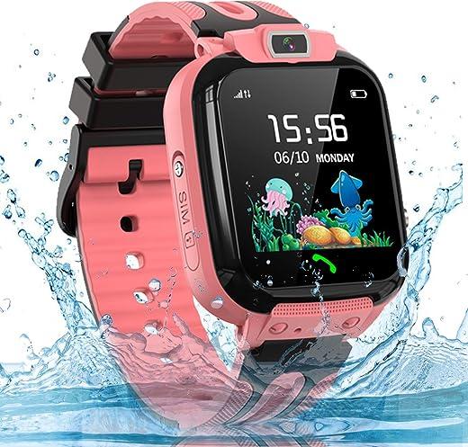 bhdlovely Impermeabile per Bambini Smartwatch Telefono con localizzatore GPS/LBS SOS Chiamata bidirezionale Touch Screen Videocamera Chat vocale Gioco Allarme per 3-12 Anni Ragazzi Ragazze-Rosa