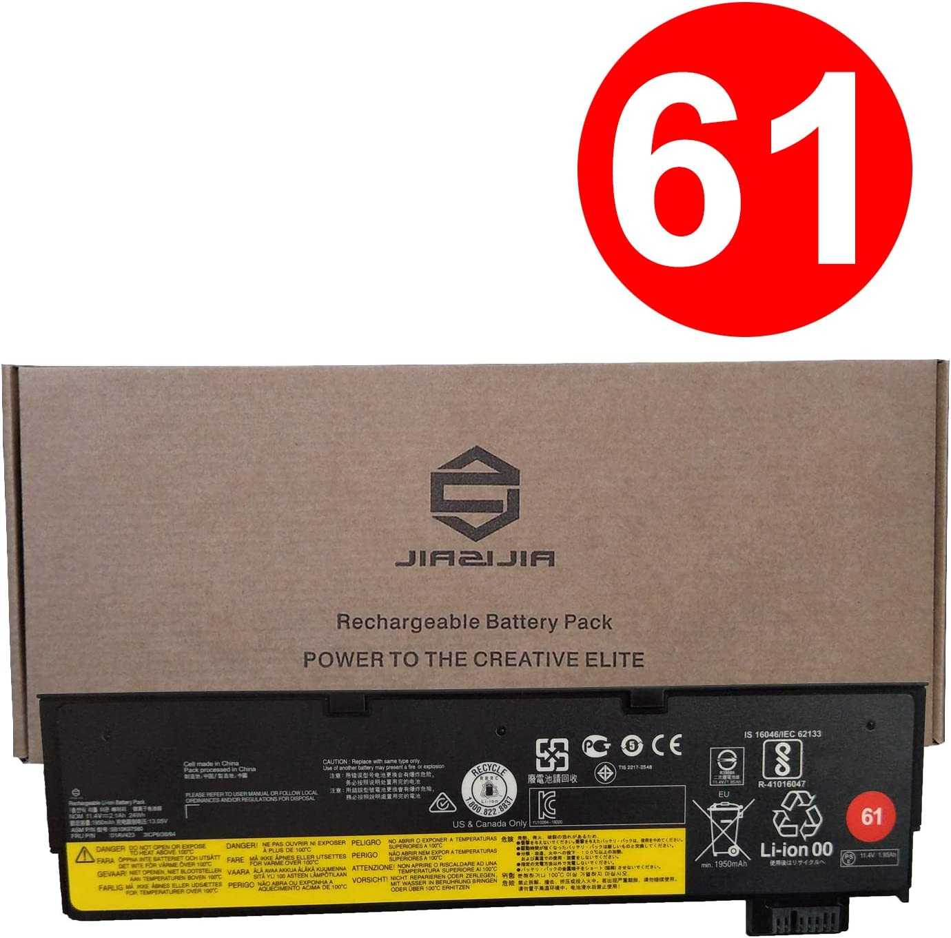 JIAZIJIA SB10K97580 Laptop Battery Replacement for Lenovo ThinkPad T470 T480 A475 A485 T570 T580 P51S P52S Series 01AV423 01AV422 SB10K97579 01AV424 SB10K97581 01AV452 SB10K97597 01AV490 11.4V 24Wh