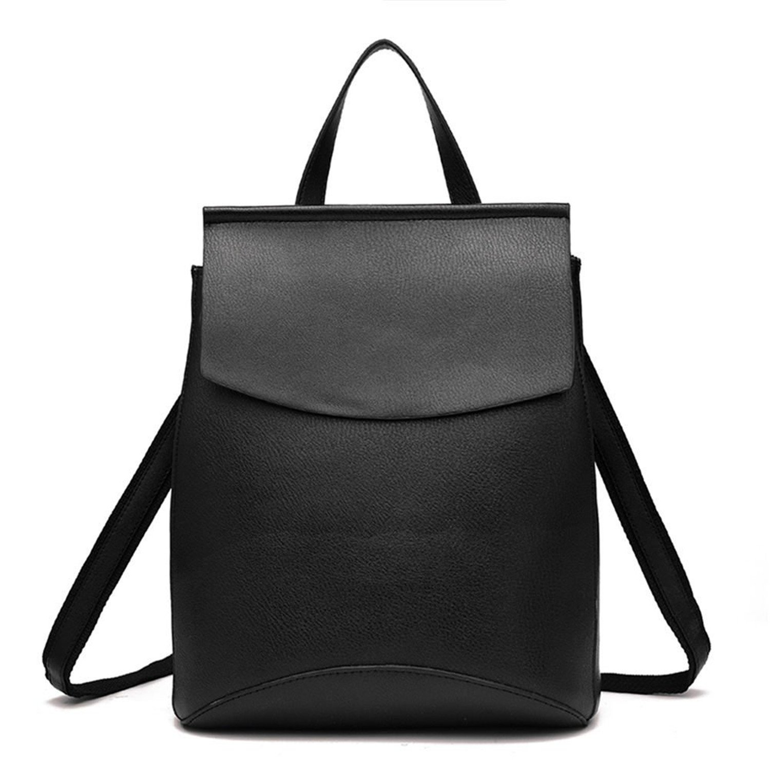 Black Soto6ro Fashion Backpack for Women Soft PU Leather Backpack Purse Casual Daypack