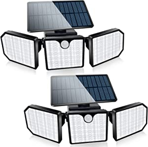 Bebrant Solar Lights Outdoor, 230 LED Solar Motion Sensor Security Lights IP65 Waterproof, Solar Flood Lights 360° Adjustable Double-Head Spotlights for Front Door Garden Yard (2 Pack)