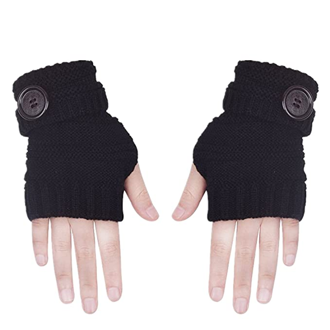 6cfbd0dca5b98 Glove Fingerless for Men Women Winter Warm Thumb Holes Gloves Mitten Solid  Color (Black)