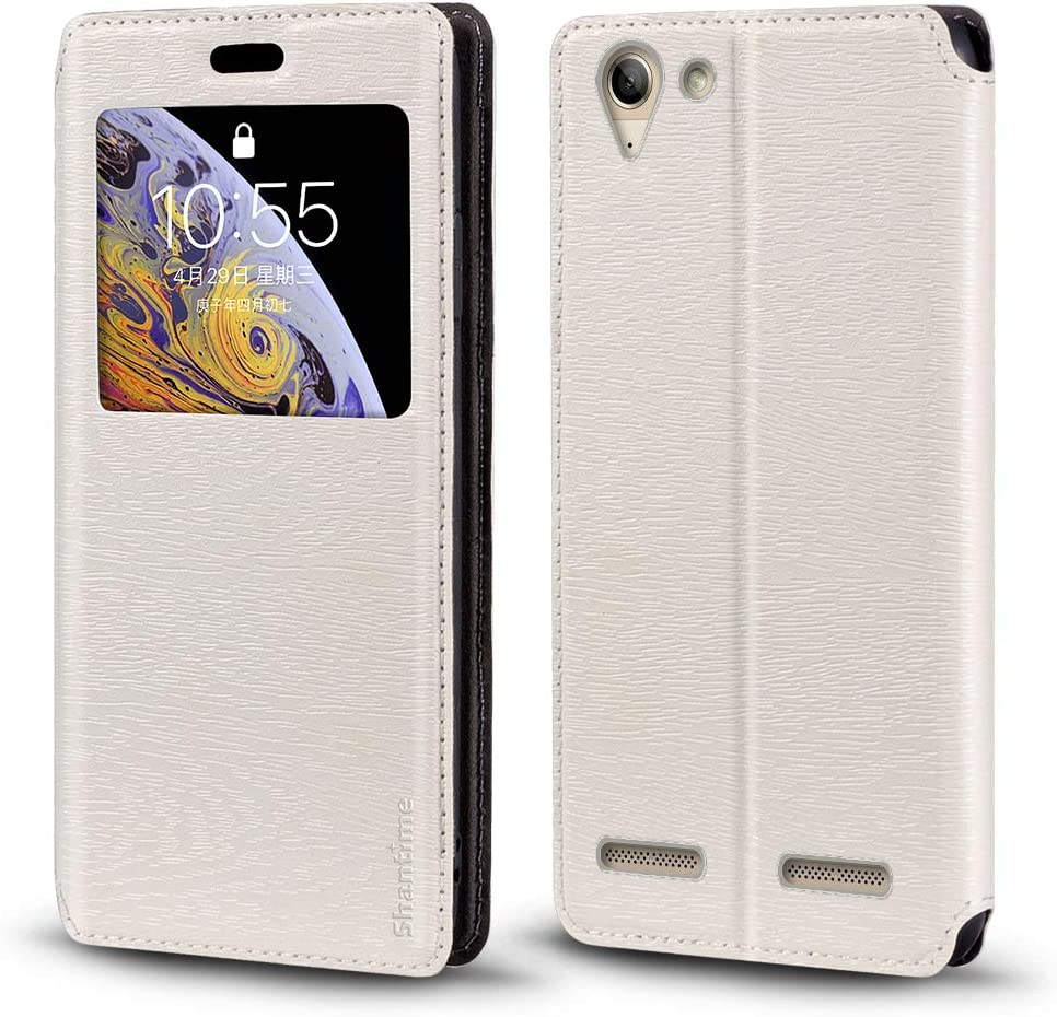 Lenovo Vibe K5 Case, Wood Grain Leather Case with Card Holder and Window, Magnetic Flip Cover for Lenovo Vibe K5 Plus