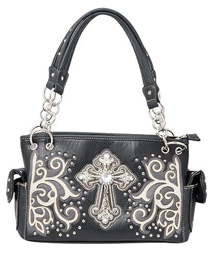 313adfc57a HW Collection Western Handbag Carry Concealed Purse Rhinestone Cross  (Black)  Handbags  Amazon.com