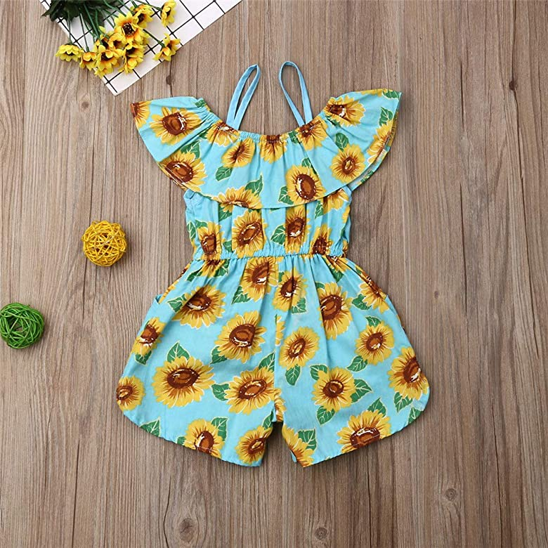 Toddler Baby Girl Floral Off-Shoulder Ruffle Halter Romper Jumpsuit One Piece Outfit Summer Clothes