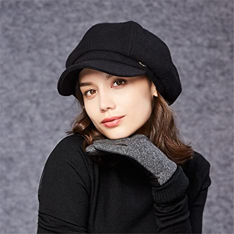 b8105a1fb81 Kenmont Women s French Beret Hat With Visor Woolen Slouchy Beanie Cloche  Hats Autumn Winter (Black) at Amazon Women s Clothing store