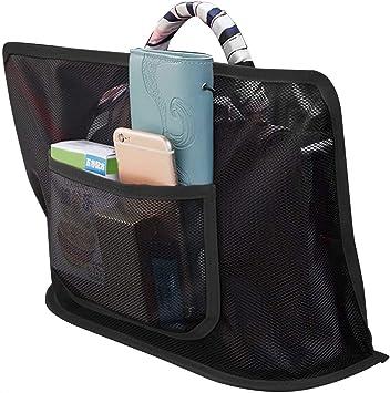 Handbag Holder Attaches to Headrest Barrier of Backseat Pet Kids Black, Advanced KOSIMI Car Net Pocket Handbag Holder Seat Back Organizer for Purse Storage Phone Documents Pocket