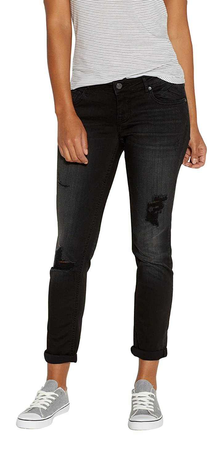 Maurices Women's Vigoss Black Tomboy Jeans With Destruction