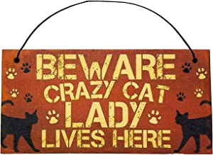 Beware Crazy Cat Lady Lives Here, Hanging Funny Wall Signs, Cat Lady Pet Lover, Vintage Farmhouse Home Decor, Wooden Wall Art Kitten Sign, Cute Decorative Plaque