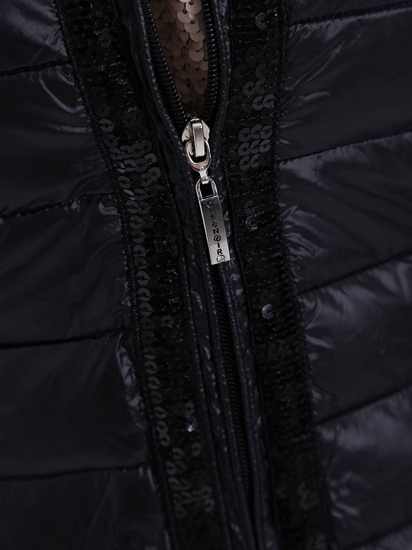 CAF NOIR JN520 schwarz Daunenjacke Pailletten + elastische
