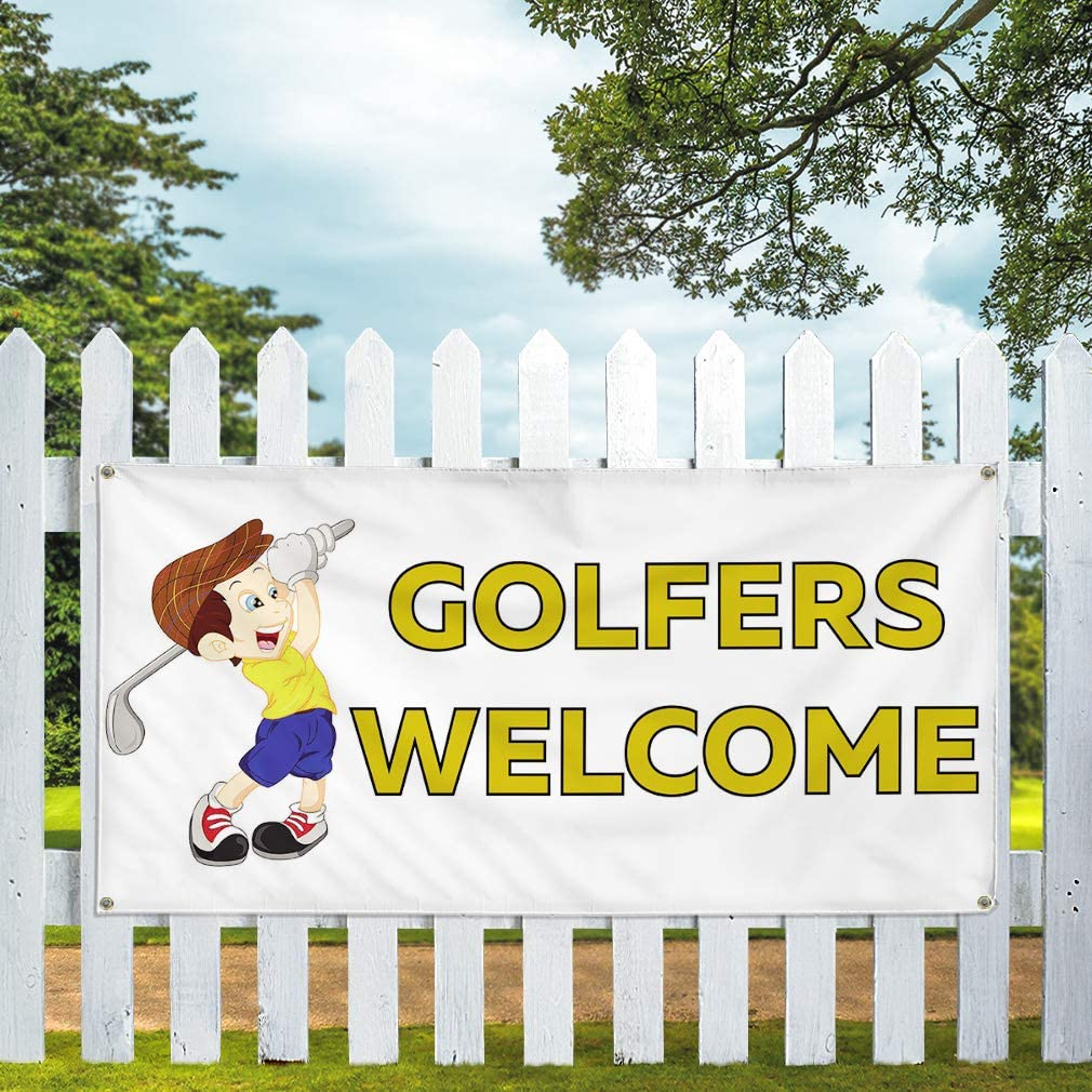 Vinyl Banner Multiple Sizes Golfers Welcome Outdoor Advertising Printing Business Outdoor Weatherproof Industrial Yard Signs White 10 Grommets 60x144Inches