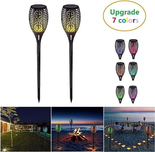 LED Luces Solares Antorchas 7 Colores RGB Lamparas Solares Jardin para Balcón Terraza Jardín Hogar Patio Piscina(2 PCS): Amazon.es: Iluminación