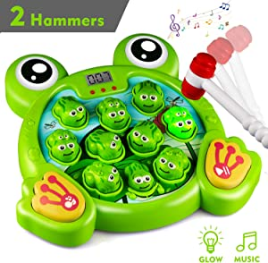 KKONES Music Super Frog Game Toddler Toys - 2 Hammers Baby Interactive Fun Toys Toddler Activities Games with Music&Light for Ages 3 4 5 6 7 8 Boys Girls