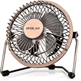 OPOLAR 4 Inch USB Small Desk Fan, Ultra-Quiet Design, with 360 Rotation, 3.8 ft Cable, Portable Cooling for Home & Office,Brown