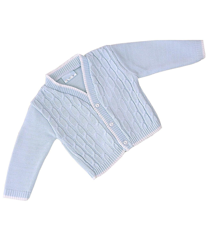 BabyPrem Baby Boy's Cardigan Jacket Acrylic Blue Cable Knit 0-18 mths