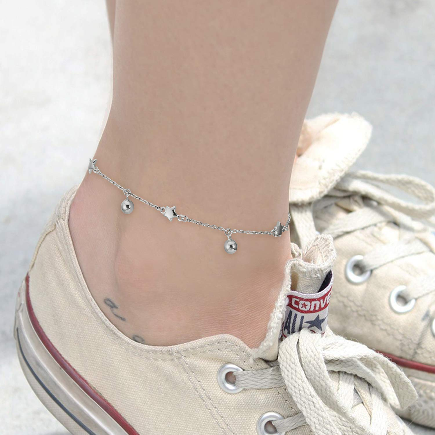 LINGBG Ball Bead Anklet S925 Sterling Silver Thin Cable Chain Adjustable Anklets for Women Girls Beach Style Bracelets Anklets Jewelry