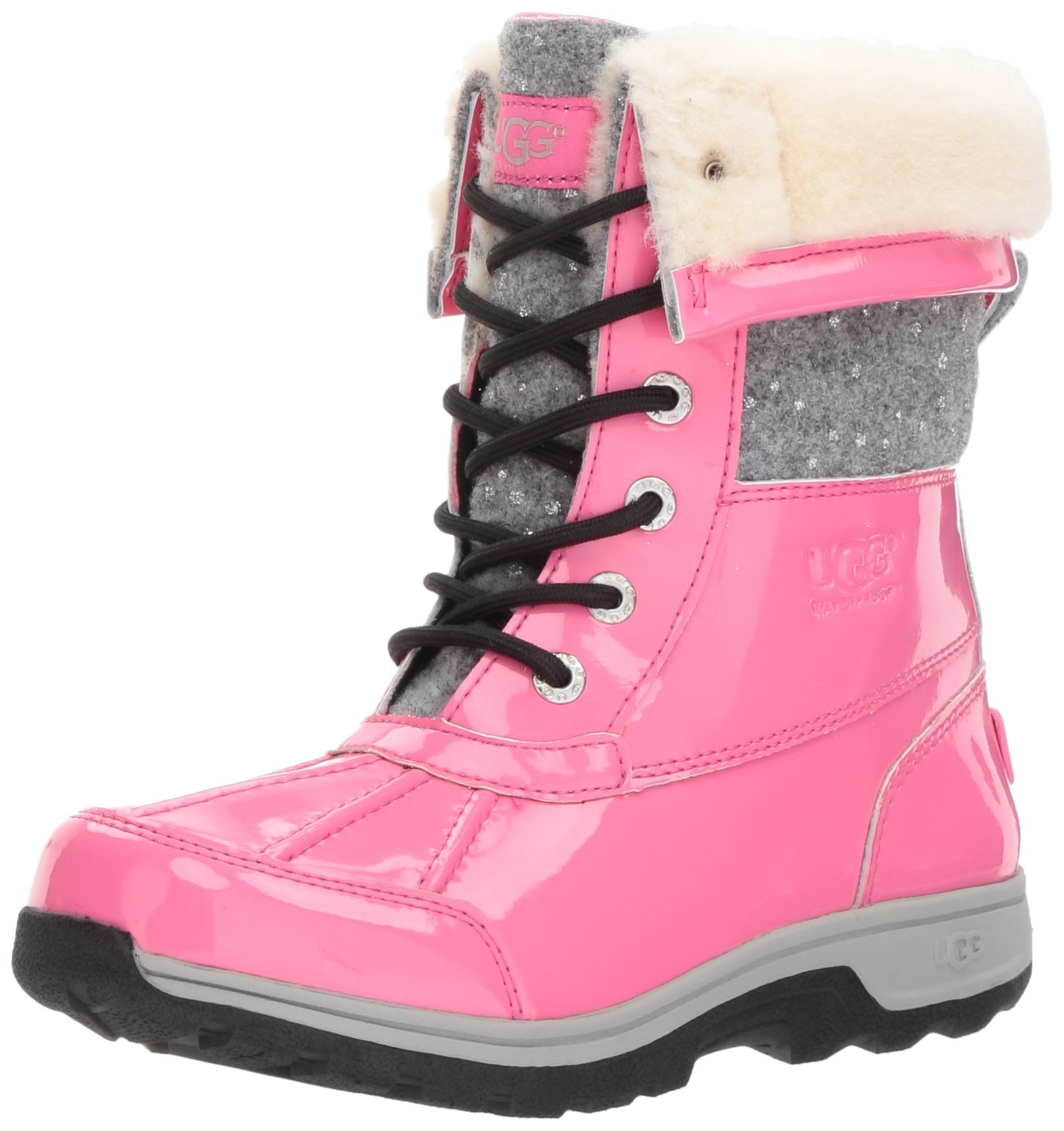 UGG Girls K Butte II Patent Sparkle Lace-up Boot, Pink Azalea, 2 M US Little Kid