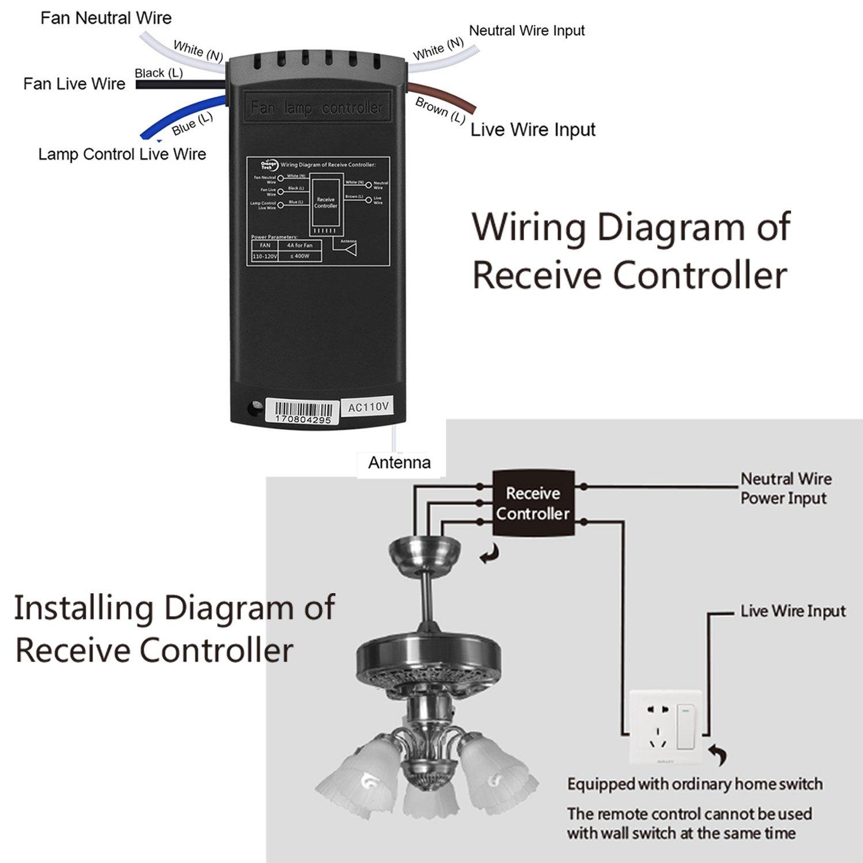 orange tech rf ceiling fan lamp remote controller universal kit. Black Bedroom Furniture Sets. Home Design Ideas
