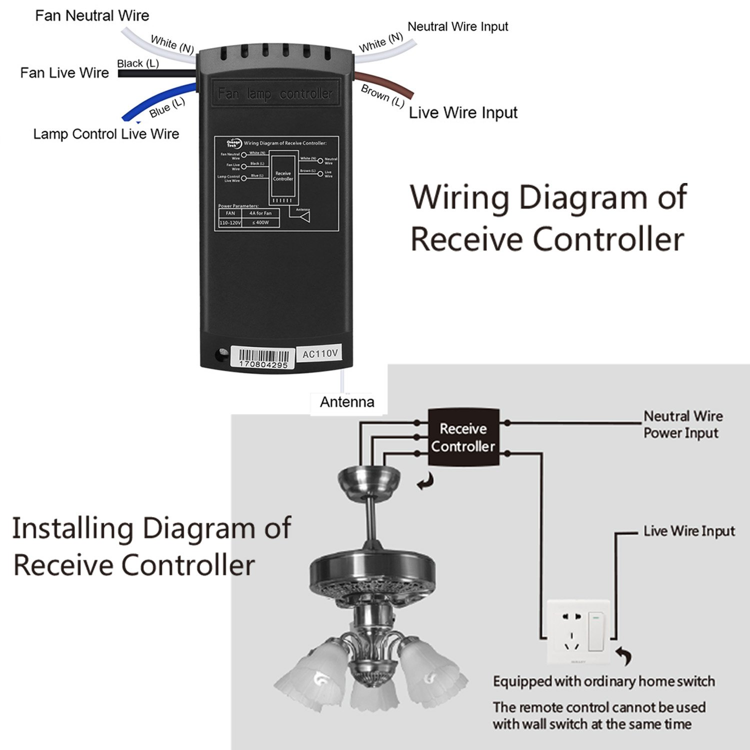 Orange Tech RF Ceiling Fan Lamp Remote Controller Universal Kit Wireless Control with Timing Setting for Home/ Office/Hotel/ Club / Display Hall/ Restaurant by ORANGE TECH (Image #4)