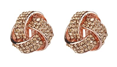 Clip On Earrings - Gold Plated With A Pink Stone & Crystals - Betty P by Bello London QwOwF