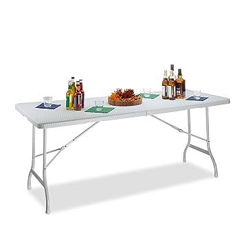 Relaxdays Table de Jardin Pliable Bastian Optique rotin Grande Table  Pliante poignées Camping Pique-Nique HxlxP: 72 x 178 x 74 cm, Blanc