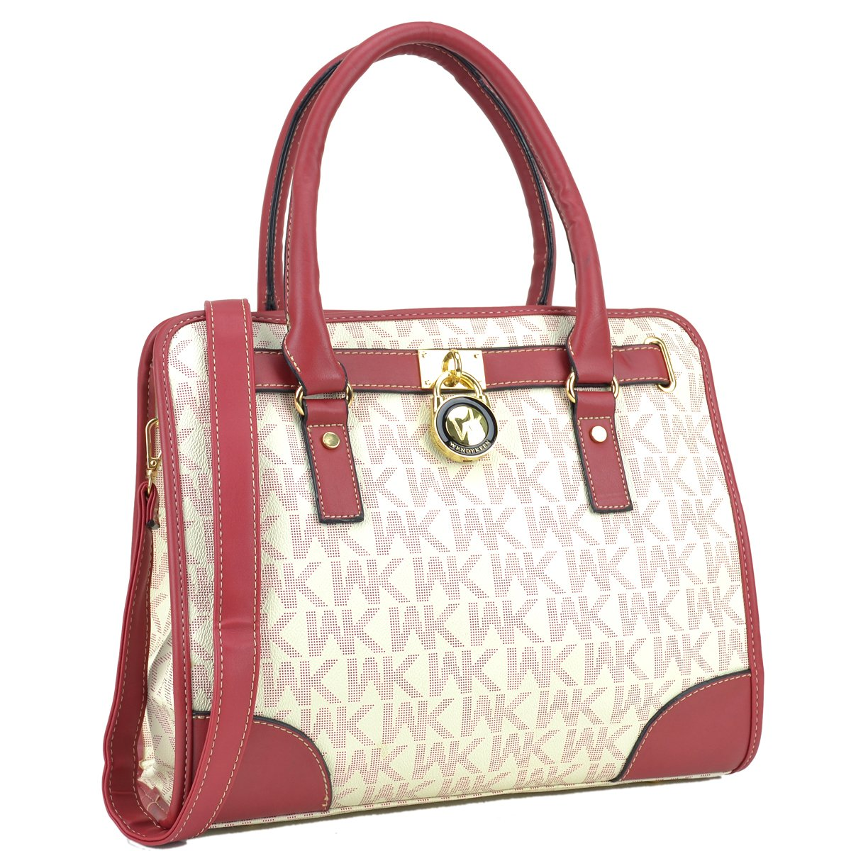 Medium Satchel Purse Designer Handbag Top Handle Shoulder Bag Padlock Red/White