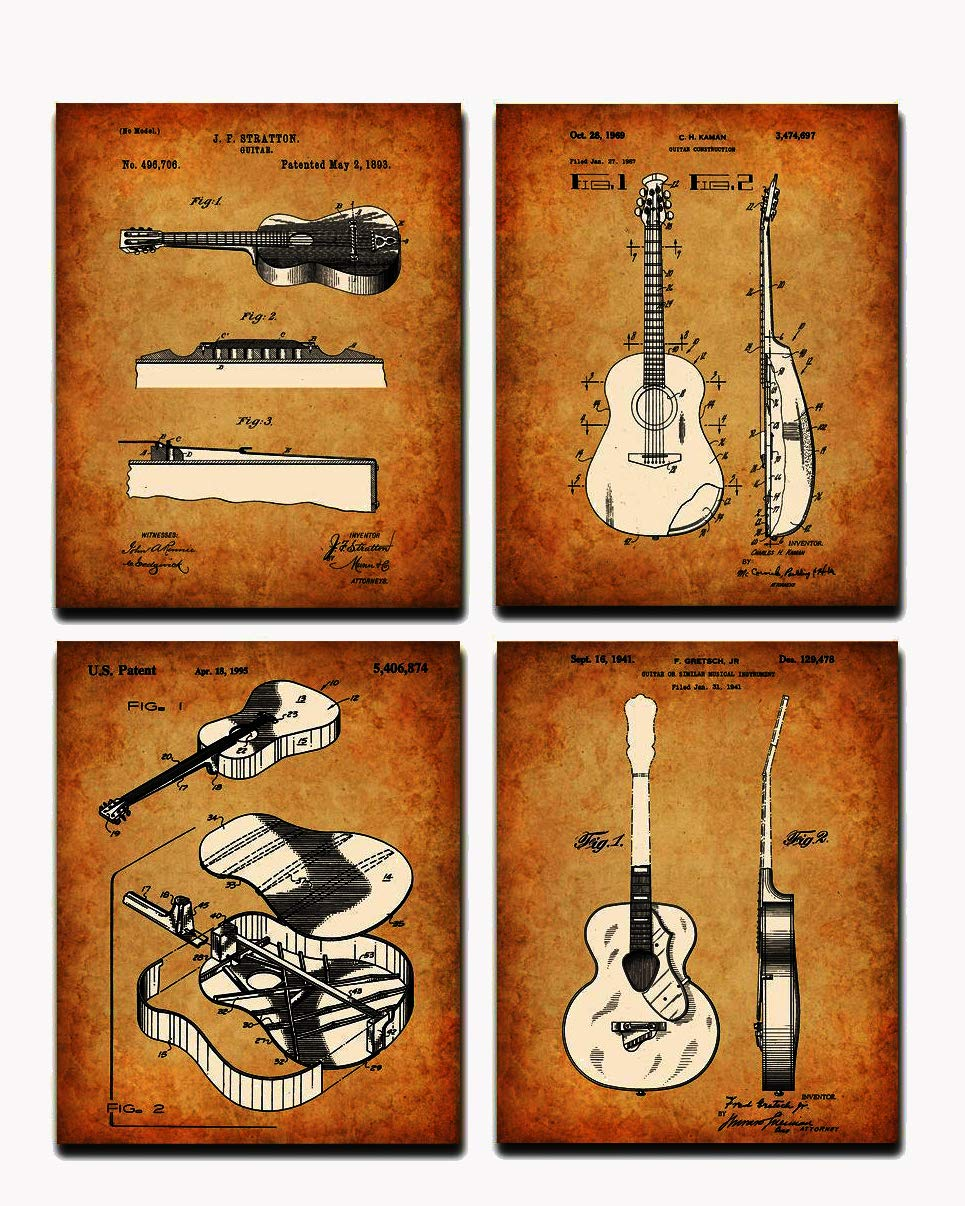 1941 Guitar Wall Art Drawings Poster Patent Print Illustration Gift Ideas Decor