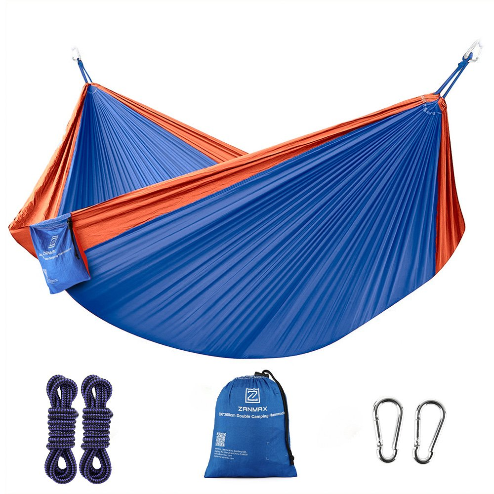 Z ZANMAX Double Hammock Portable Camping Hammock, Outdoor Lightweight 300 x 200 cm Large Nylon Hammock with Tree Straps for Backpacking, Camping, Hiking, Garden, Beach