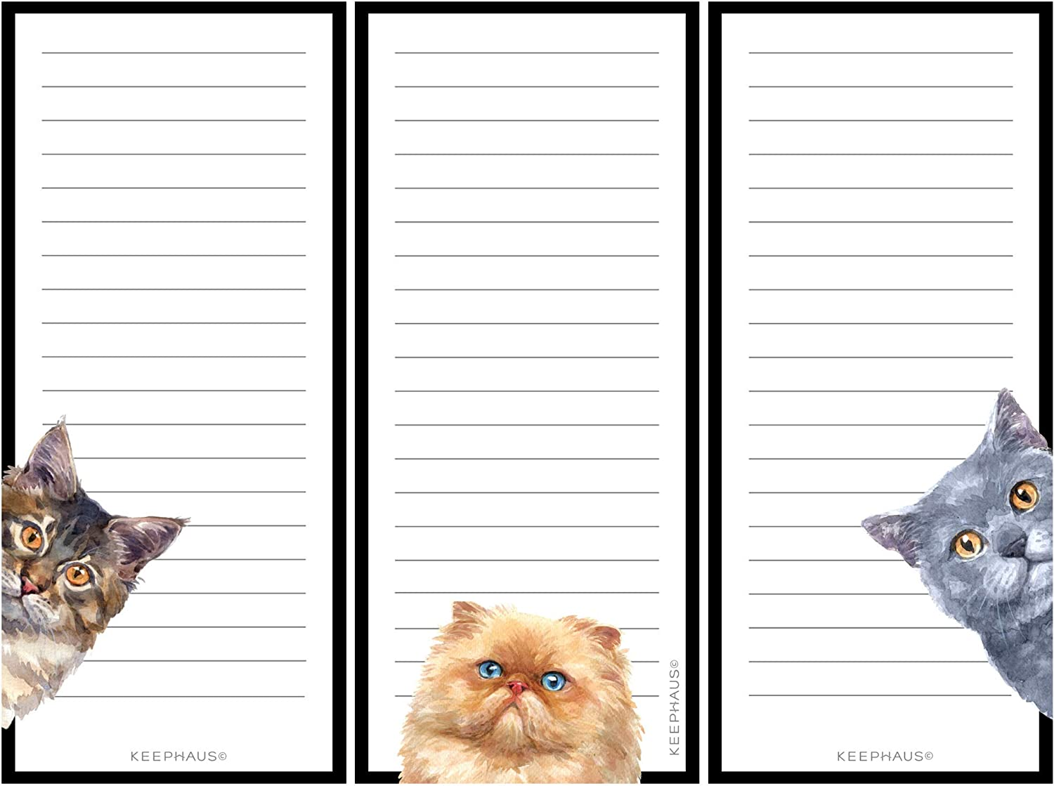 Curious Cats Magnetic To Do List Notepads (3 Pack); Grocery Shopping List Magnet Pad for Fridge; Magnetic Paper Pad for Reminders, Memo Pad and Scratch Pad; Cute Cat Designs | 50 Sheets per Note Pad