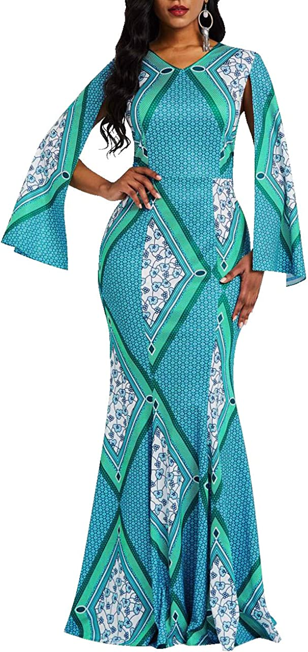 VERWIN Mermaid Long Sleeve Print Patchwork Women's Maxi Dress Floor Length Bodycon Dress
