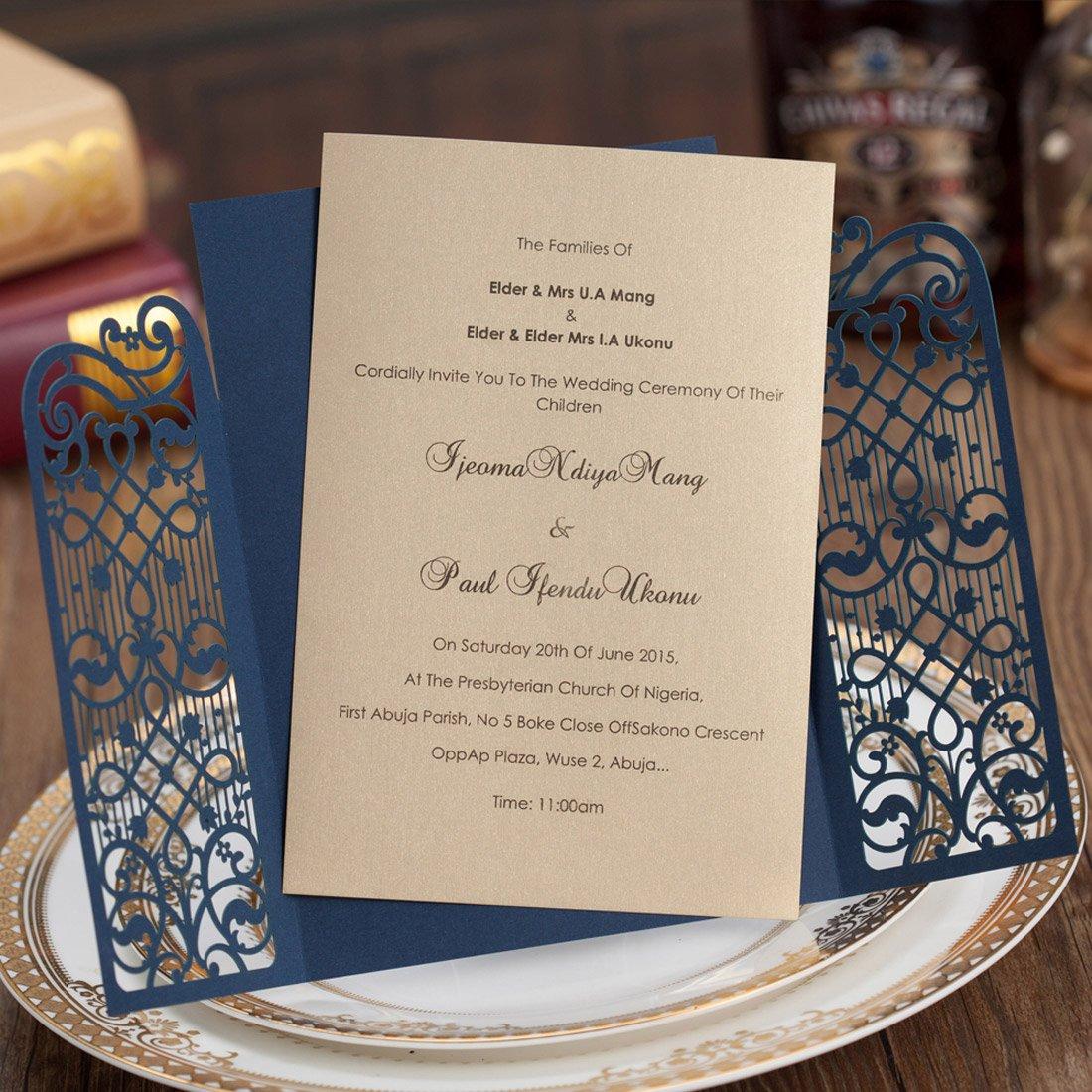 Amazon Com Wishmade Navy Blue Laser Cut Wedding Invitations Cards