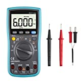 Digital Multimeter, TRMS 6000 Counts Auto Ranging Multi volt meter Tester with test leads for Capacitance Resistance Hz Duty Cycle Temperature AC/DC Voltage Current Transistor Diode Buzzer Test