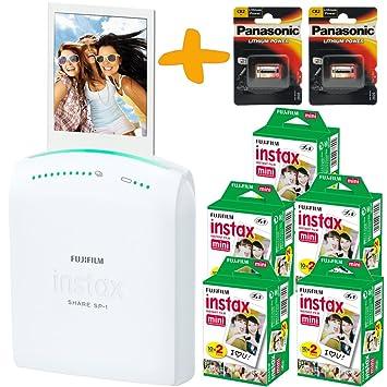 Fuji Instax SHARE SP-1 smartphone de WiFi portátil inmediata de la foto de la impresora + 100 Instax Mini impresiones + Piezas Baterías CR2 (Impresora ...