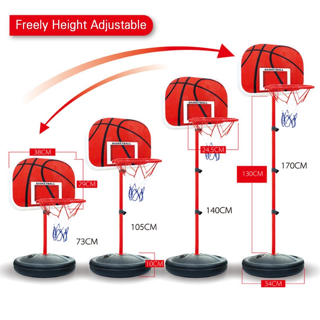 Basketball Stands, WOLFBUSH 73-170CM Basketball Stands Height Adjustable Kids Basketball Goal Hoop Toy Set - Black + Red