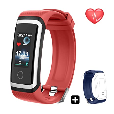 QARFEE Fitness Tracker HR, Colour Screen Wireless Activity Tracker Smart Bracelet Watch with Heart Rate Monitor Waterproof Fitness Band with Step ...