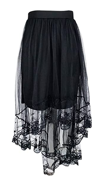 8eed4b42fa219 Women's High Low Mesh Net Lace Overlay Maxi Skirt, Black at Amazon ...
